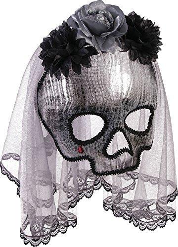 Maske Totenkopf toten Braut Rosen Schleier Halloween Kostüm Zubehör (Tote Braut Halloween-kostüme)
