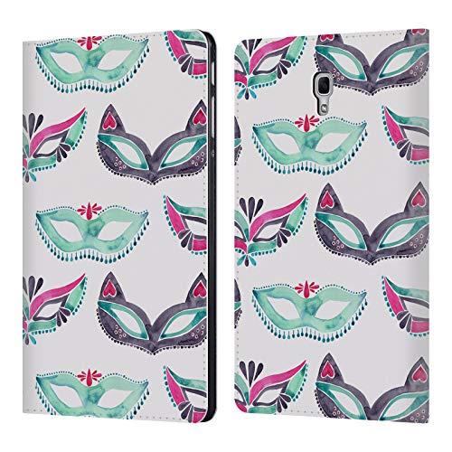 Head Case Designs Offizielle Cat Coquillette Minz Rosa Maske Maskerade Muster 4 Brieftasche Handyhülle aus Leder für Samsung Galaxy Tab A 10.5 ()