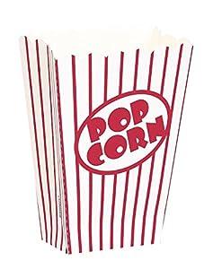 Unique Party- Pop Corn Paquete de 8, Color palomitas cajas - pequeña (59023)