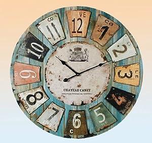 Orologio da parete tipo legno stile vintage