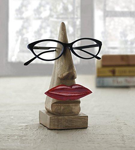 """Schrullige handgefertigte """"Nase Shaped"""" Brillenhalter Palisander Brillen Sonnenbrillen Halter Stand fur zu Hause und Buro Dekor (Rote Lippen geformt braun1)"""