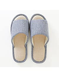 fankou Spring and summer couples stay cool with a linen slippers female lovely wooden floor indoor slippers male thick, non-slip ,38-39, light blu (A)