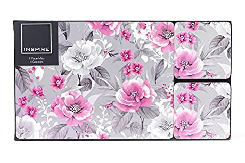 Inspire TW290519 Luxury Peony Gardens Placemat and Coaster, Hardboard, Pink, Set of 4