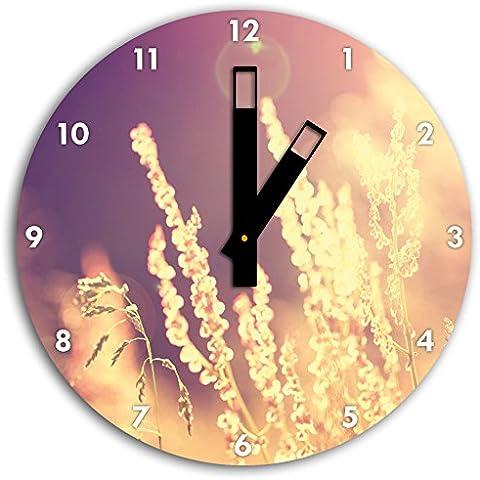 Erbe romantica luce del sole, parete diametro 30 centimetri orologio con il nero quadrato le mani e il viso, oggetti decorativi, Designuhr, composito di alluminio molto bello per soggiorno,