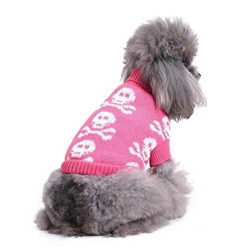 S-Lifeeling Totenkopf Hunde Pullover Urlaub Halloween Weihnachten Haustier Kleidung Angenehm Weiches Hund Kleidung-Rosa, Dog - Back Length 14