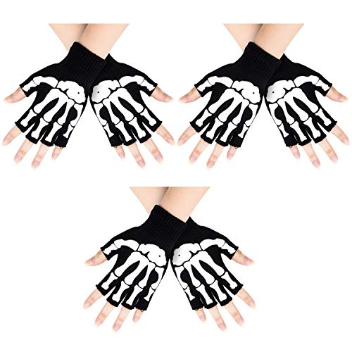 Whaline 3 Paar Totenkopf-Handschuhe Skelett Fingerlose Halbfinger Strick Handschuhe Glow in The Dark für Halloween Skelett Kostüme, Large Size for - Glow Skelett Kostüm