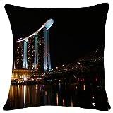 JHDHVRFr Marina Bay at Night, Singapore - World- #10316 - Plush Cushion Covers Throw Pillowcases Super Soft Fashion Simple Decorative Pillowcases 18x18 inches