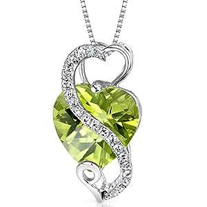 Revoni 14 Karat White Gold Heart Shape 3.02 carats Peridot Diamond Pendant