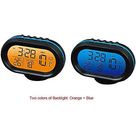 Yosoo 12V Termómetro digital del voltímetro del reloj de alarma del monitor, multifuncional Autometer voltaje del reloj de congelación Medidor de temperatura, medidor de detector de reloj LCD monitor de la batería Pantalla
