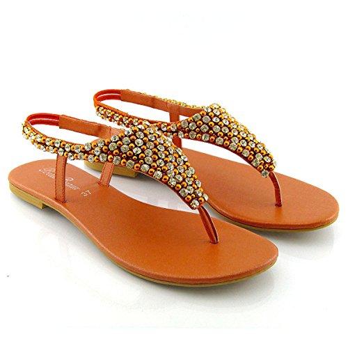 ESSEX GLAM Sandalo Donna Infradito Finto Diamante Perlato Cinturino Posteriore Arancia
