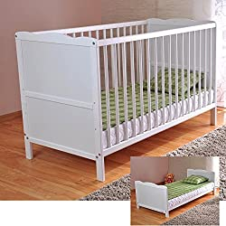 White Solid Wood Baby Cot Bed & Deluxe Foam Mattress Converts into a Junior Bed ✔ 3 Position ✔ water repellent mattress liner