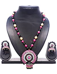 Pentacrafts Terracotta Art Designed Women Girl Necklace Set, Color: Cerise Pink, Black & Gold.