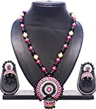 #5: Pentacrafts Terracotta Art designed Women Girl Necklace Set, Color: Cerise Pink, Black & Gold.