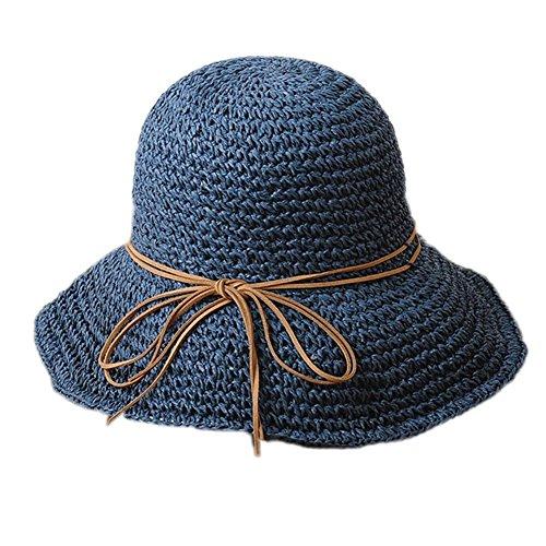 Chapeau de Paille - BienBien Casquette à Visière Anti-soleil Pliable Eté pour Voyage / Plage / Vacances Marine