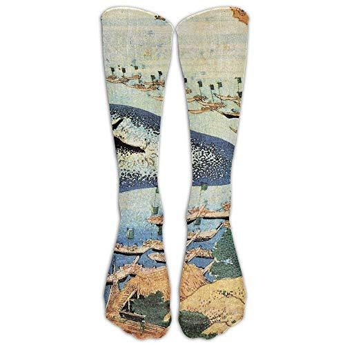 Hokusai Japan Ink Whale Athletic Tube Stockings Women Men Classics Knee High Socks Sport Long Sock One Size