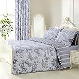 Vintage Shabby Chic Toille Grey / Silver Reversible Bedding Set Duvet Cover Set Toile De Jouy (Double Bed)