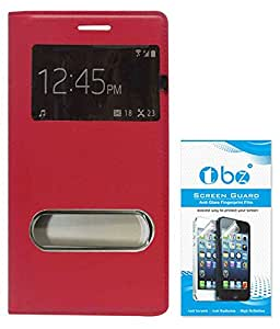 TBZ Premium Leather Window Flip Cover Case for Samsung Galaxy Grand Prime G530H with Screen Guard -Red