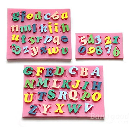 Preisvergleich Produktbild [Free Shipping] 3pcs Letters & Numbers Cake Mould Fondant Chocolate Soap Mould/3Letters & Numbers Fondant Cake Molds Soap Chocolate Mould by BML