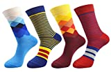 FULIER Mens 4 Pack Cotton Rich Fashion Colorful Argyle Stripe Design Dress Calf Crew Sock UK 6-11