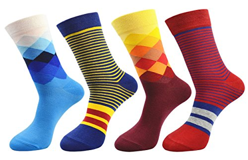 FULIER Mens 4 Pack Cotton Rich Dress Socken, Bequem, Breathable, Smart Design Calf Crew Socke 6-11 (Color3) (Tag Kleid-schuhe Mens Casual)