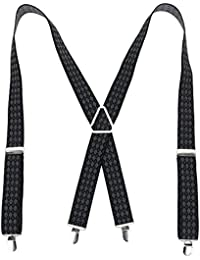 Mens Braces Wide Elastic Suspenders - Triangle X Shape With 4 Strong Heavy Duty Metal Clips, Adjustable Length