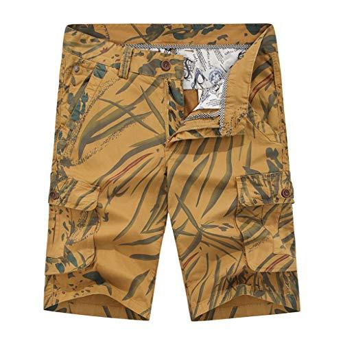 Xmiral Shorts Herren Reißverschluss Overall Streifen Kurze Hose Mit Taschen Sports Hose Training Shorts Fitness Beachshorts(X Khaki,S) Military Overall