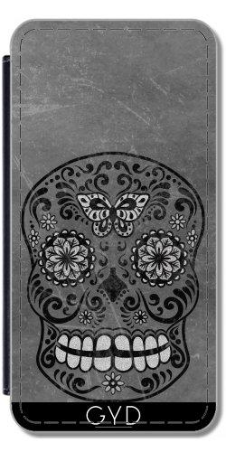 Leder Flip Case Tasche Hülle für Apple iPhone 6/6S - Dunkle Gotische Silbergrau Zucker by Gatterwe Lederoptik