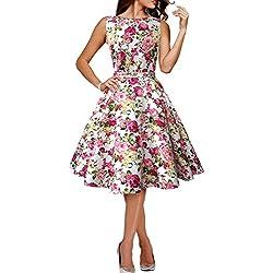 Vestido Vintage Años 50 Divinity (Marfil - Flores Rosas, ES 36 - XS)