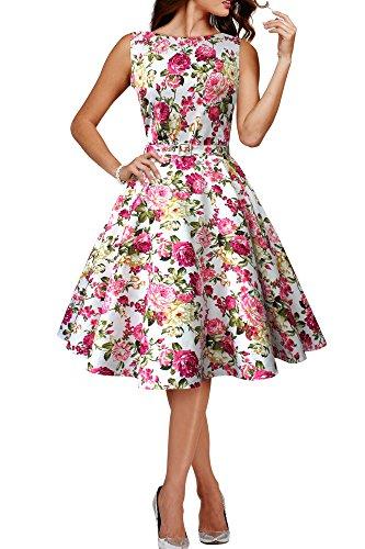 Black Butterfly 'Audrey' Vestido Vintage Años 50 Divinity (Marfil - Flores Rosas, ES 40 - M)