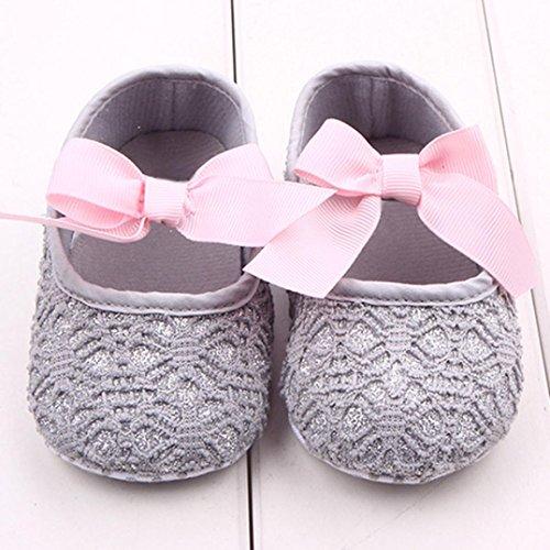 FEITONG Kleinkind Mädchen Krippe Schuhe Neugeborene Blumen Weiche Alleinige Baby Turnschuhe (11, Rot) Grau