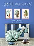 HappyWords® 3er Set Bilder DIN A4 ohne Bilderrahmen | Dekoration Babyzimmer Kinderzimmer | Junge Mädchen Baby Kind | Kinder-Poster Kinderbilder Drucke Kunstdruck | Waldtiere REH + Bär + Fuchs