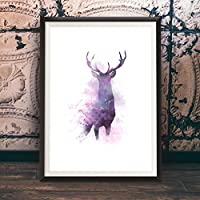 Stag Original Wall Art Animal Print Picture, Beautiful Digital Hand Drawn Wall Art Watercolour Poster - by Mark Peters - Unframed poster A3 / A4