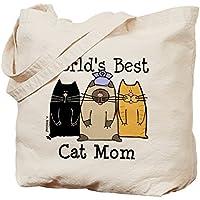 Cafepress–World' s Greatest Cat MOM–Borsa di tela naturale, tessuto in iuta