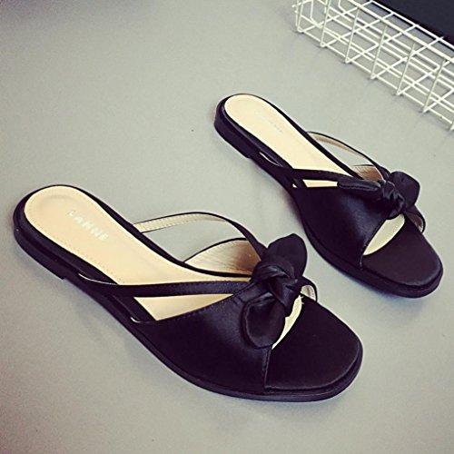 Hunpta Damen Sommer Bowknot Schuhe Peep-Toe Halbschuhe römischen Sandalen Damen Flip Flops Schwarz
