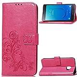 Kihying Hülle für Samsung Galaxy J2 Core Hülle Schutzhülle PU Leder Flip Wallet Fashion Geschäft HandyHülle (Rot - SD05)