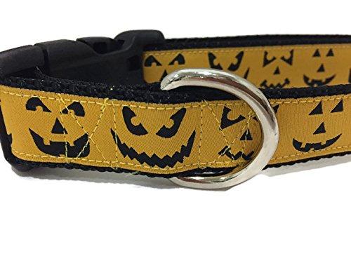 caninedesign Qualität Halsbänder Hundehalsband, Halloween, caninedesign, Geister, Candy Corn, Kürbisse, 2,5cm breit, verstellbar, Nylon, mittelgroß und groß, Large 15-22