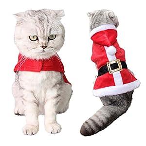 Katze Kostüm, Legendog Weihnachten Katzen Weplen Kleider Verstellbare Niedlich Santa Claus Kapuzenpullover Winter Warm Wintermantel für Katze Welpen Chihuahua