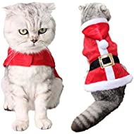 Christmas Pet Clothes, Legendog Cat Costume Cute Adjustable Santa Claus Clothes Pet Hoodie Coat for Small Medium Large Cats (Red)