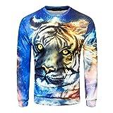 MRULIC Herren Pullover Herbst Pullover Shirt Top 3D Blumendruck Design Oktoberfest Halloween Kostüm(G-Blau,EU-48-50/CN-XL)