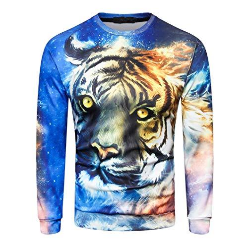 MRULIC Herren Pullover Herbst Pullover Shirt Top 3D Blumendruck Design Oktoberfest Halloween Kostüm(G-Blau,EU-50-52/CN-2XL)