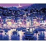 KUNLEE Fai da Te Digitale Pittura Regalo Lino Paesaggio Set Soggiorno Decorazione Villa in Barca a Vela sotto la Luce di Notte 40 * 50 cm (Senza Telaio)
