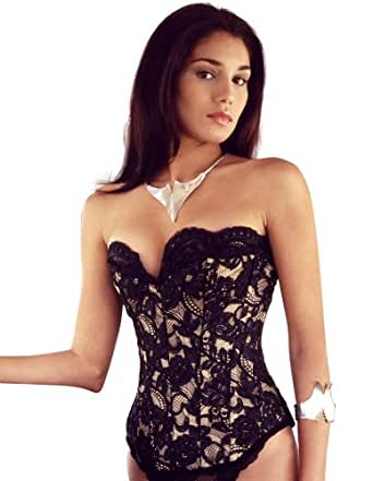 "Vollers Tulip Lace over Gold Satin Corset V1130 18"" waist"