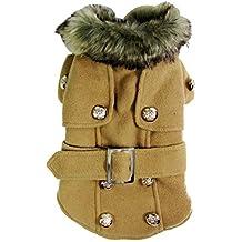 Dogloveit - Abrigo de invierno de tendencia y elegante con cuello de lana para perros/gatos
