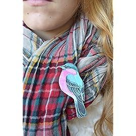 Bird brooch Bird pin Animal jewelry Bird wood brooch Gift for girlfriend Gift for mom blue kids pin Baby pin Scarf accessory Handbag accessory Shawl pin Girl brooch Woman brooch Rustic jewelry