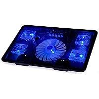 BestFire Laptop Cooling Pad raffreddamento Chill Mat con 5 ventole silenziose luci blu del LED e 2 porte USB 2.0 portatile Notebook Cooler raffreddamento Fits 14