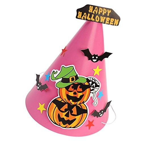 Damen Rosa Kostüm Diy (MagiDeal Halloween Partyhüte / Partyhütchen / Kegelhut – Hallowmas Muster - Halloween & Party - DIY Set - Kürbis)