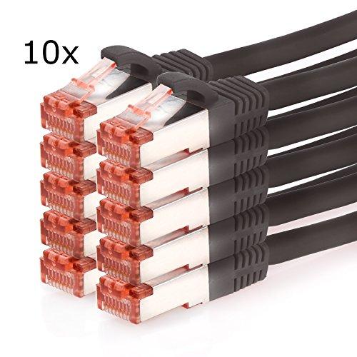 TPFNet (10er PACK) 1m CAT.6 - CAT6 Premium Ethernet LAN Patchkabel SFTP DOPPELT GESCHIRMT | Gigabit Netzwerkkabel | LAN-Kabel | RJ45 Kabel | Internetkabel | RJ45 Netzwerk Anschlusskabel | Patch Kabel | Ethernet Kabel mit Knickschutztülle schwarz (RJ45, Cat 6, Twisted Pair, S/FTP (PIMF) DOPPELT GESCHIRMT, halogenfrei, 1000 Mbit/s / 1 Gigabit) (Ethernet-kabel 10er Pack)