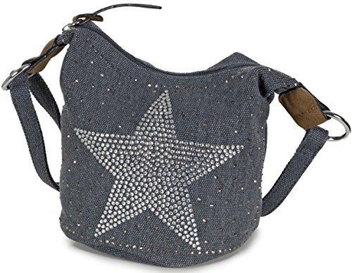 L&S Collection Stern Handtaschen Damen - kleine Umhängetasche - Mini Stern Tasche aus Canvas (16 x 16 x 14 cm) Blau