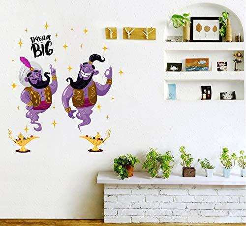 Aladdin Lámpara Mágica De Dibujos Animados Pegatinas De Pared Habitación De Los Niños Personalidad Decorativa Impermeable Pegatinas 50 * 70 Cm