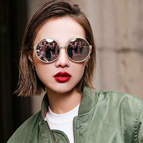 Beleben Sie alte Bräuche zusammen mit einem Stil, den der Sonnenspiegel mit einem großen Rahmenkreis aus langem Gesicht und Einer dünnen Sonnenbrille mit rundem Brillenrahmen zeigt
